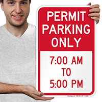 Permit Time Limit Parking Signs