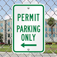 Permit Parking Only With Left Arrow Signs