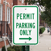 Permit Parking Only With Right Arrow, Reserved Parking Sign