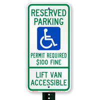 Montana Reserved Parking, Lift Van Accessible Signs