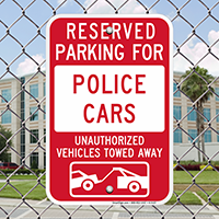 Reserved Parking For Police Cars Signs