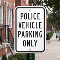 Police Vehicle Parking Only Signs