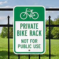 Private Bike Rack Not For Public Use Sign