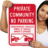 Private Community, No Parking Signs