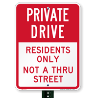 Private Drive Residents Only Parking Sign