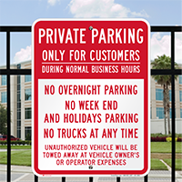 Private Parking Only For Customers Signs