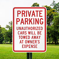 Private Parking Unauthorized Cars Towed Signs