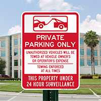 Private Property Parking, 24 Hour Surveillance Signs