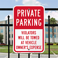 Private Parking, Violators Towed Away Signs