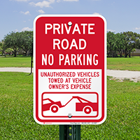Private Road, No Parking Signs