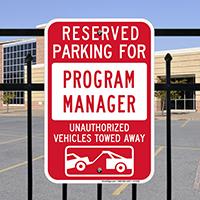 Reserved Parking For Program Manager Signs