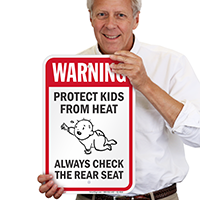 Protect Kids From Heat Check Rear Seat Signs