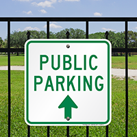 Public Parking Signs with Bidirectional Arrow