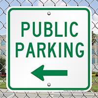 Public Parking Signs with Left Arrow