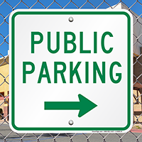 Public Parking Signs with Right Arrow