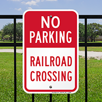 Railroad Crossing No Parking Signs