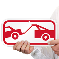 Tow Away Truck Symbol Signs, in Red