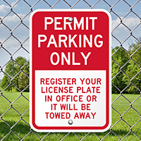 Permit Parking Only, Register License Plate Office Signs