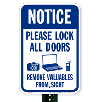 Lock All Doors Remove Valuables From Sight Signs