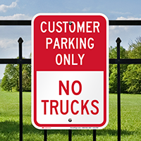Reserved Customer Parking Only, No Trucks Signs