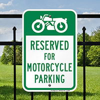 Reserved For Motorcycle Parking Signs with Bike Graphic