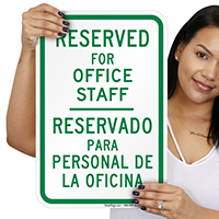 Bilingual Reserved For Office Staff Signs