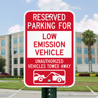 Reserved Parking For Low Emission Vehicle Signs