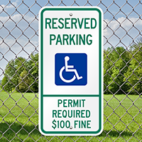 Reserved Parking Permit Required Fine Signs