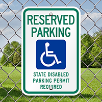 Reserved Parking Disabled Permit Required Signs