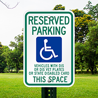 Reserved Parking Disable Vet Plates Signs
