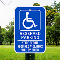 Reserved Parking State Permit Required Signs