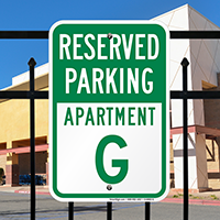 Reserved Parking Apartment G Signs