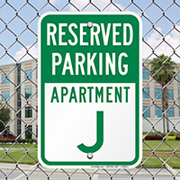 Reserved Parking Apartment J Signs
