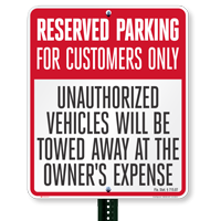 Florida Reserved Customer Parking Tow-Away Signs