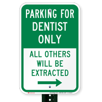 Reserved Parking For Dentist Only, Right Signs
