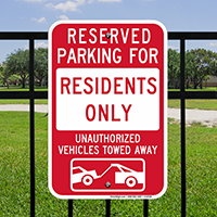 Reserved Parking For Residents Signs with Tow Graphic