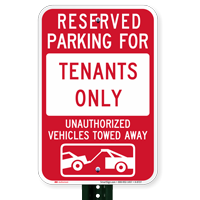 Reserved Parking For Tenants Signs with Tow Graphic