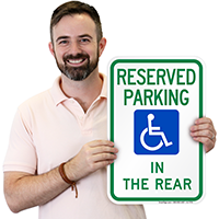 Reserved Parking In Rear Sign (With Graphic)