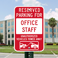 Reserved Parking For Office Staff Signs