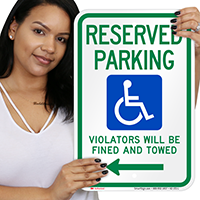 Reserved Parking Violators Fined Towed Left Signs