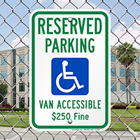 Reserved Parking, Van Accessible Handicap Parking Signs