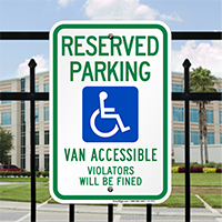 Van Accessible Signs with Wheelchair Graphic