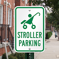 Reserved Stroller Parking With Graphic Signs