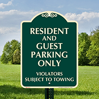 Resident And Guest Parking Only Signature Sign