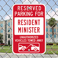 Reserved Parking For Resident Minister Signs