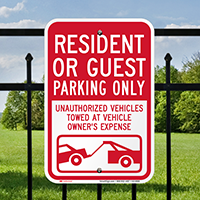 Resident Or Guest Parking Only Signs
