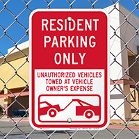 Resident Parking Only, Unauthorized Vehicles Towed Signs