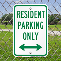 Resident Parking Only with Bidirectional Arrow Signs