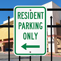 Resident Parking Only Signs with Left Arrow