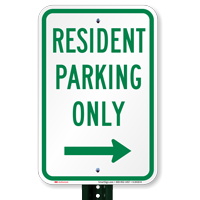 Resident Parking Only Signs with Right Arrow